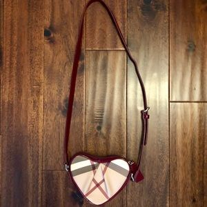 Burberry kids heart shaped crossbody purse.
